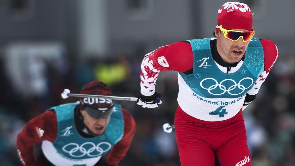 Alex Harvey pendant l'épreuve du skiathlon des Jeux olympiques de Pyeongchang