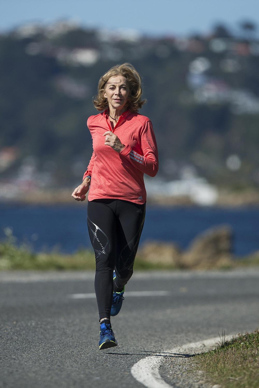 Kathrine Switzer à l'entraînement à l'hiver 2017 en Nouvelle-Zélande