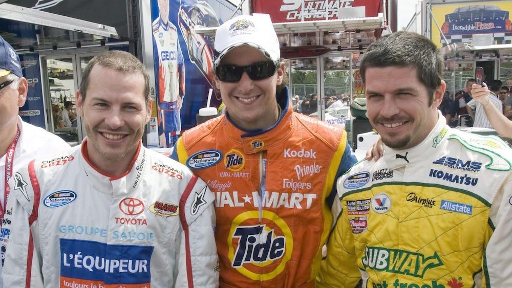 Jacques Villeneuve, Andrew Ranger et Patrick Carpentier au NAPA Autoparts 200 de Montréal de la série NASCAR Nationwide, en 2008