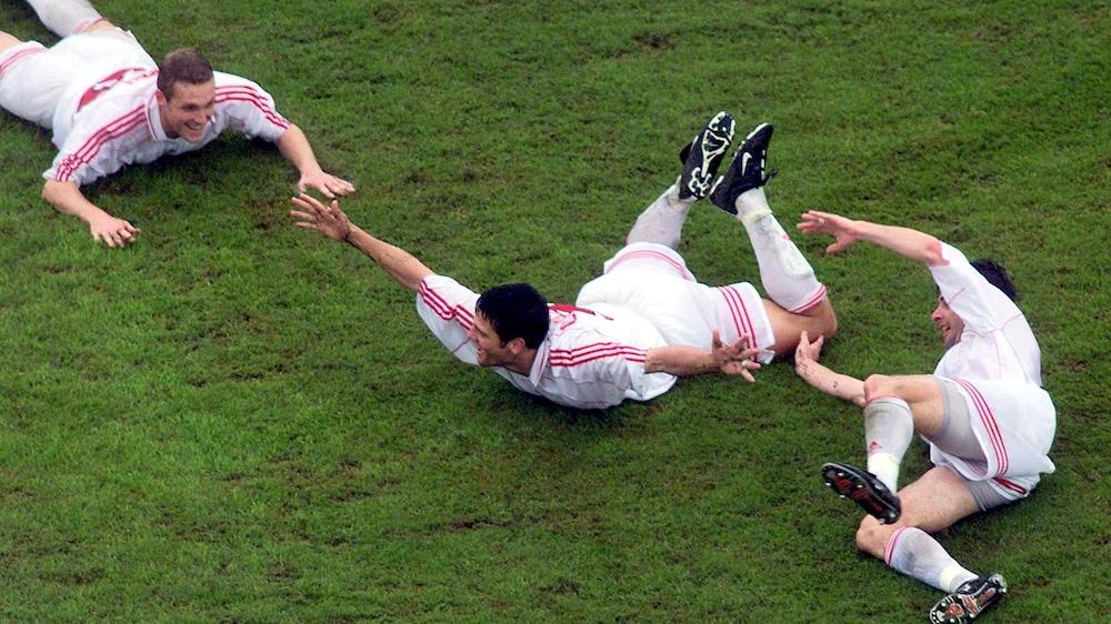Carlo Corazzin fête son but marqué contre la Colombie.