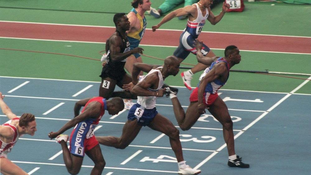 Encore champion du monde! Bruny Surin défend son titre mondial au 60 m à Barcelone en 1995.