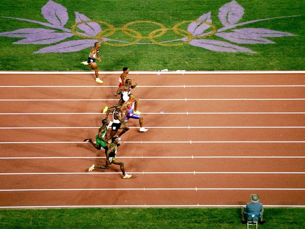 Vue aérienne de la finale du 100 m d'Atlanta