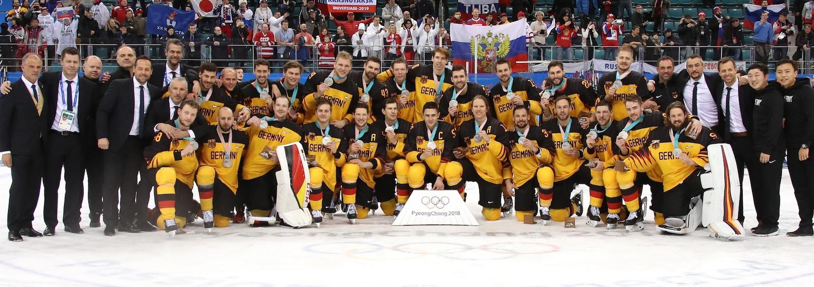 L'équipe allemande de hockey, médaillée d'argent des Jeux olympiques de Pyeongchang