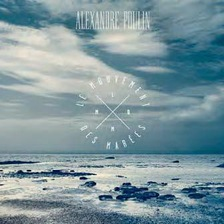 Sur la photo bleutée, un bord de mer à marée basse.
