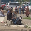 Des personnes dans le besoin près du centre-ville d'Edmonton.