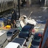 La scène de l'accident sur le pont du traversier.