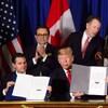 Enrique Pena Nieto, Donald Trump et Justin Trudeau lors de la signature de l'ACEUM.