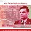 Une image montrant le futur billet de banque à l'effigie d'Alan Turing, de couleur rouge.
