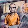 Dessin de cour d'Alek Minassian portant une tenue de prisonnier orange.