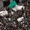 Des manifestants brandissant des drapeaux algériens.
