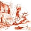 Un dessin d'André Michel d'une femme innue qui fait cuire un poisson.