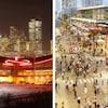 À gauche, le Saddledome la nuit, et à droite, le plan d'un nouvel aréna moderne.