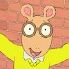 Arthur est représenté comme un oryctérope portant des lunettes. Il se tient devant un mur de briques.