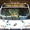 Un autobus de la ville de Winnipeg sur lequel on peut lire les mots : Take a free ride, soit « Obtenez un passage gratuit ».