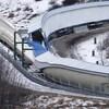 L'intersection entre les pistes de luge et de bobsleigh au Parc olympique de Calgary