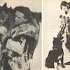 Deux photographies en noir et blanc montrant chacune un homme vêtu de fourrure. Un homme porte un chien sur l'épaule droite, l'autre flatte un chien à ses pieds.