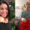 Montage de deux photographies : Hanna souriante devant un arbre et Alex dans un fauteuil roulant à l'hôpital.
