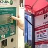 Vue d'une borne de paiement pour le stationnement.