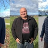 Les candidats au poste de conseiller municipal dans Val-Mauricie Guy Arseneault, Pierre Giguère et Jean-Yves Laforest.