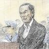 Un dessin de cour de Carlos Ghosn, ancien président de Nissan Motor lors d'une audience publique au tribunal de Tokyo.