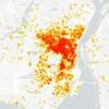 Carte montrant où se trouvent la plupart des Airbnb à Montréal.