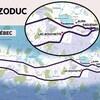 Une carte qui présente un large corridor où pourrait passer un gazoduc de 750 kilomètres de longueur.