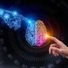 Rendement en trois dimensions d'une main humaine et d'une main de robot pointant vers un cerveau multicolore.