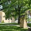Photo de l'extérieur d'une école en briques jaunes; une arche et trois grands arbres sont en avant-plan.