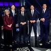 Jagmeet Singh, Elizabeth May, Maxime Bernier, Patrice Roy, Justin Trudeau, Andrew Scheer et Yves-Francois Blanchet lors du débat.