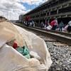 Plusieurs sacs de déchets ont été remplis aux abords de la voie ferrée au centre-ville de Sherbrooke.