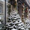 Décorations de Noël extérieures : Des sapins enneigés et des guirlandes lumineuses.