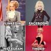 Montage de 4 photos, une récente et quatre anciennes, de la chanteuse blonde Dolly Parton