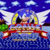 On voit le petit hérisson bleu au centre d'un anneau doré avec le titre du jeu « Sonic The Hedgehog » sous lui. Il apparaît en premier plan devant un paysage composé d'une étendue d'eau, de forêts et de falaises.