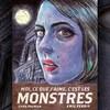 La couverture du livre représente le visage d'une femme à la peau bleutée, de trois-quarts, avec des lèvres rouges et une boucle d'oreille verte, et en arrière plan un bâtiment en pierre et la pleine lune.