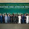 Les dirigeants des pays signataires de l'entente pour établir une zone de libre-échange en Afrique posaient à la suite du sommet de l'Union africaine à Kigali au Rwanda.