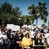 Des manifestants rassemblés pour dénoncer le meurtre d'Ahmaud Arbery.