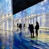 Des gens dans une immense pièce colorée observent d'immenses panneaux lumineux mettant en scène des tableaux du peintre Van Gogh.