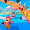Des personnages en forme de jelly beans s'affrontent dans une course à obstacles.