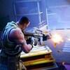 Une capture d'écran du jeu Fortnite: Battle Royale montrant un personnage afro-américain en train de tirer au fusil d'assaut sur un autre personnage qui tente de se cacher derrière une pile de caisses. L'action se déroule dans un hangar.