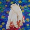 Peinture d'un ours polaire et d'un cerf dans une barque.