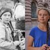 Une photo d'archive et une photo de la militante Greta Thunberg.
