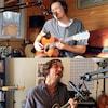 Capture d'écran des quatre musiciens jouant de leur instrument dans leur logement respectif.