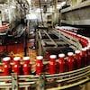Des bouteilles de ketchup sur une usine