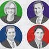 Illustration des six chefs de partis au élections fédérales.