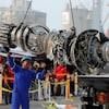 Un moteur de l'avion de Lion Air qui s'est écrasé.