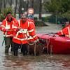 Des pompiers évacuent des béliers dans un terrain inondé.