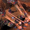 Capture d'écran du jeu StarCraft II, dans laquelle on voit des vaisseaux attaquer des soldats au sol.