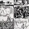 «La ligne d'eau», une œuvre en noir et blanc réalisée par le peintre Jean Paul Riopelle.