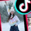 Image divisée en deux montrant une jeune femme faisant un mouvement de danse dans la neige à gauche, et le visage d'une adolescente aux cheveux longs à droite.