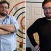 Deux photos du même homme : l'une avant sa perte de poids avec une chemise bleue et les bras croisés et l'une à l'heure actuelle avec un chandail noir et plusieurs livres en moins.